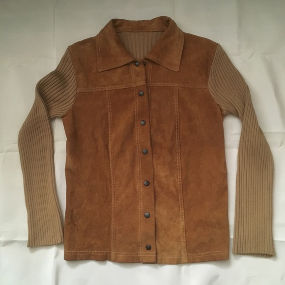 Vintage 80s Suede/Wool knit snap front jacket.
